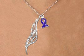 <Br>               LEAD & NICKEL FREE!!<Br>    W19635N - ELEGANT AUSTRIAN <Br>CRYSTAL ACCENTED ANGEL WING PENDANT<Br>AND PURPLE AWARENESS RIBBON CHARM <BR>NECKLACE FROM $6.19 TO $13.75