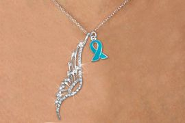<Br>               LEAD & NICKEL FREE!!<Br>    W19636N - ELEGANT AUSTRIAN <Br>CRYSTAL ACCENTED ANGEL WING PENDANT<Br>AND TEAL AWARENESS RIBBON CHARM <BR>NECKLACE FROM $6.19 TO $13.75