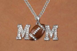 """<BR>     LEAD & NICKEL FREE!!<BR>W19651NE - AUSTRIAN CRYSTAL <BR> FOOTBALL """"MOM"""" NECKLACE <BR>   FROM $6.75 TO $15.00 �2012"""