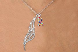 <Br>               LEAD & NICKEL FREE!! <Br>W19652N - ELEGANT AUSTRIAN CRYSTAL <Br>ACCENTED ANGEL WING PENDANT AND <Br>AUTISM AWARENESS RIBBON CHARM <BR>     NECKLACE FROM $6.19 TO $13.75<BR>                                    �2012