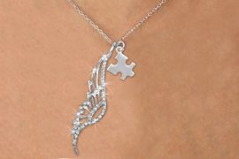 <Br>               LEAD & NICKEL FREE!! <Br>W19653N - ELEGANT AUSTRIAN CRYSTAL <Br>ACCENTED ANGEL WING PENDANT AND <Br>AUTISM AWARENESS PUZZLE CHARM <BR>     NECKLACE FROM $6.19 TO $13.75<BR>                                    �2012