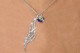 <Br>               LEAD & NICKEL FREE!! <Br>W19655N - ELEGANT AUSTRIAN CRYSTAL <Br>ACCENTED ANGEL WING PENDANT AND <Br>AUTISM AWARENESS PUZZLE HEART <BR>     NECKLACE FROM $6.19 TO $13.75<BR>                                    �2012