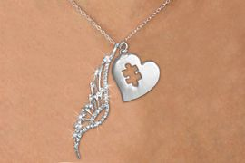 <Br>               LEAD & NICKEL FREE!! <Br>W19656N - ELEGANT AUSTRIAN CRYSTAL <Br>ACCENTED ANGEL WING PENDANT AND <Br>AUTISM AWARENESS PUZZLE HEART <BR>     NECKLACE FROM $6.19 TO $13.75<BR>                                    �2012