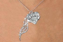 """<Br>               LEAD & NICKEL FREE!! <Br>W19658N - ELEGANT AUSTRIAN CRYSTAL <Br>ACCENTED ANGEL WING PENDANT AND <Br>CRYSTAL """"BLESSED"""" HEART CHARM <BR>     NECKLACE FROM $7.65 TO $17.00"""
