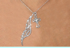 <Br>               LEAD & NICKEL FREE!! <Br>W19685N - ELEGANT AUSTRIAN CRYSTAL <Br>ACCENTED ANGEL WING PENDANT AND <Br>ORNATE SILVER TONE CROSS CHARM & <BR>     NECKLACE FROM $6.19 TO $13.75