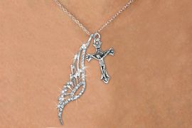 <Br>               LEAD & NICKEL FREE!! <Br>W19689N - ELEGANT AUSTRIAN CRYSTAL <Br>ACCENTED ANGEL WING PENDANT AND <Br>DETAILED JESUS ON CROSS / CRUCIFIX & <BR>     NECKLACE FROM $6.19 TO $13.75