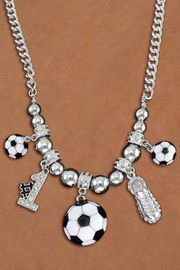 <BR>       LEAD & NICKEL FREE!! <BR>W19724N - AUSTRIAN CRYSTAL <BR> #1 SOCCER THEMED NECKLACE <BR>    FROM $7.85 TO $17.50 �2012