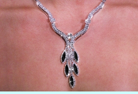 <Br>           LEAD & NICKEL FREE!!<BR>W19899NE - GENUINE AUSTRIAN <Br>STYLISH JET BLACK CRYSTAL FIVE <BR>STRAND NECKLACE & EARRING SET <br>          FROM $8.44 TO $18.75