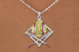 <BR>     LEAD & NICKEL FREE!!<BR>W19926NE - AUSTRIAN CRYSTAL <BR>SOFTBALL DIAMOND & CROSSED BATS <BR> NECKLACE AND EARRING SET<BR>   FROM $7.31 TO $16.25 �2012