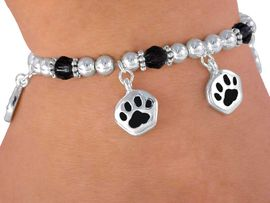 <Br>         LEAD & NICKEL FREE!!<Br>W3115B - CHILDREN'S BLACK<BR>      STRETCH PAW BRACELET<BR>          FROM $2.81 TO $6.25