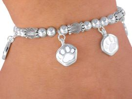 <Br>        LEAD & NICKEL FREE!!<Br>W3116B - CHILDREN'S WHITE<BR>     STRETCH PAW BRACELET<BR>             AS LOW AS $3.90