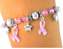 """<bR>           LEAD & NICKEL FREE!!<Br>  W3460B-""""HOPE, FAITH, LOVE""""<BR>   BREAST CANCER AWARENESS<BR>             STRETCH BRACELET<BR>         FROM $6.75 TO $15.00"""