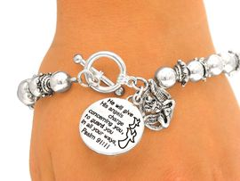 "<BR>              LEAD & NICKEL FREE!!<br>W4683B - ""PSALM 91:11"" SILVER<BR>FINISH CHARM STRETCH/TOGGLE<Br>BRACELET FROM $4.50 TO $10.00"