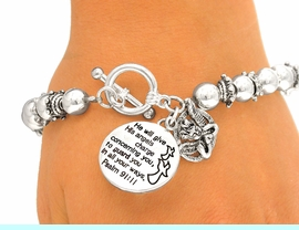 """<BR>              LEAD & NICKEL FREE!!<br>W4683B - """"PSALM 91:11"""" SILVER<BR>FINISH CHARM STRETCH/TOGGLE<Br>BRACELET FROM $4.50 TO $10.00"""