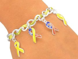 "<Br>              LEAD & NICKEL FREE!!<BR>     W5439B - YELLOW THREADED<Br>""SUPPORT OUR TROOPS"" RIBBON<bR>        CHARM TOGGLE BRACELET<Br>               FROM $3.35 TO $7.50"