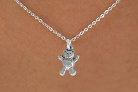 "<Br>               LEAD & NICKEL FREE!!<BR> W848SN - TEDDY BEAR ON A CHILDREN'S 12""<Br>     OR ADULT 18' CHAIN NECKLACE<BR>              FROM $5.63 TO $12.50"