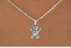 """<Br>               LEAD & NICKEL FREE!!<BR> W848SN - TEDDY BEAR ON A CHILDREN'S 12""""<Br>     OR ADULT 18' CHAIN NECKLACE<BR>              FROM $5.63 TO $12.50"""
