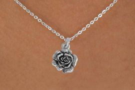 """<Br>               LEAD & NICKEL FREE!!<BR> W874SN - ROSE ON A CHILDREN'S 12""""<Br>     OR ADULT 18' CHAIN NECKLACE<BR>              FROM $5.63 TO $12.50"""