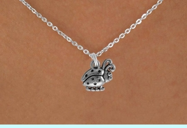"""<Br>               LEAD & NICKEL FREE!!<BR> W878SN - LADYBUG ON A CHILDREN'S 12""""<Br>     OR ADULT 18' CHAIN NECKLACE<BR>              FROM $5.63 TO $12.50"""