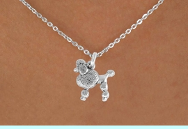 """<Br>               LEAD & NICKEL FREE!!<BR> W892SN - POODLE ON A CHILDREN'S 12""""<Br>     OR ADULT 18' CHAIN NECKLACE<BR>              FROM $5.63 TO $12.50"""