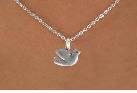 "<Br>               LEAD & NICKEL FREE!!<BR> W894SN - DOVE ON A CHILDREN'S 12""<Br>     OR ADULT 18' CHAIN NECKLACE<BR>              FROM $5.63 TO $12.50"