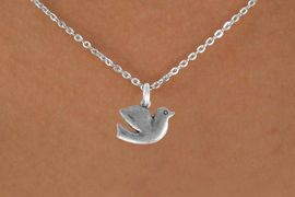 """<Br>               LEAD & NICKEL FREE!!<BR> W894SN - DOVE ON A CHILDREN'S 12""""<Br>     OR ADULT 18' CHAIN NECKLACE<BR>              FROM $5.63 TO $12.50"""