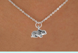 """<Br>               LEAD & NICKEL FREE!!<BR> W901SN - BUNNY ON A CHILDREN'S 12""""<Br>     OR ADULT 18' CHAIN NECKLACE<BR>              FROM $5.63 TO $12.50"""