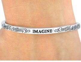 "<Br>                LEAD & NICKEL FREE!!<Br>W9397B - POLISHED SILVER FINISH<Br>   ""IMAGINE"" STACKABLE STRETCH<br>     BRACELET FROM $3.35 TO $7.50"