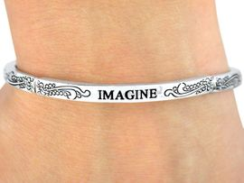 """<Br>                LEAD & NICKEL FREE!!<Br>W9397B - POLISHED SILVER FINISH<Br>   """"IMAGINE"""" STACKABLE STRETCH<br>     BRACELET FROM $3.35 TO $7.50"""