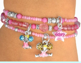 """<Br>             LEAD & NICKEL FREE!!<Br>W9475BA - CHILDREN'S 4-COLOR<Br>         """"CHEERLEADER"""" STRETCH<Br>    BRACELET ASSORTMENT FROM<Br>                      $8.38 EACH"""
