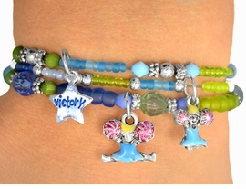 "<Br>             LEAD & NICKEL FREE!!<Br>W9475BA - CHILDREN'S 4-COLOR<Br>         ""CHEERLEADER"" STRETCH<Br>    BRACELET ASSORTMENT FROM<Br>                      $3.70 TO $7.50"