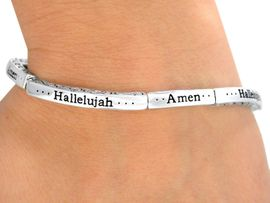 "<bR>                 LEAD & NICKEL FREE!!<br>W9520B - STACKABLE SILVER TONE<br>   ""AMEN"" ""HALLELUJAH"" STRETCH<Br>    BRACELET FROM $2.25 TO $5.00"