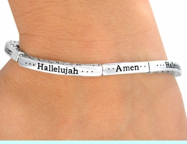 """<bR>                 LEAD & NICKEL FREE!!<br>W9520B - STACKABLE SILVER TONE<br>   """"AMEN"""" """"HALLELUJAH"""" STRETCH<Br>    BRACELET FROM $2.25 TO $5.00"""