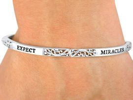 "<Br>              LEAD & NICKEL FREE!!<br>W9533B - POLISHED SILVER FINISH<br>   ""EXPECT MIRACLES"" STACKABLE<br>       2ND BEST SELLING BRACELET <BR>              OUT OF  7,000 STYLES<BR>          STRETCH BRACELET FROM<Br>                      $6.80 TO $9.80"