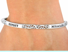 """<BR> OUT OF STOCK WILL BE AVAILABE OCTOBER -  NOVEMBER<Br>              LEAD & NICKEL FREE!!<br>W9533B - POLISHED SILVER FINISH<br>   """"EXPECT MIRACLES"""" STACKABLE<br>          STRETCH BRACELET FROM<Br>                      $6.80 TO $9.80"""