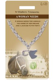 """<Br>            LEAD & NICKEL FREE!!<Br>          WESTERN TREASURES!!<Br> W15308B - """"A WOMAN NEEDS""""<Br>       HORSE HEAD & AUSTRIAN<Br>CRYSTAL HORSESHOE BRACELET<bR>WITH GIFT CARD AND ENVELOPE<bR>                AS LOW AS $6.47"""
