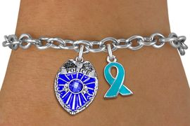 <bR>            LEAD & NICKEL FREE!! <BR>        WHOLESALE POLICE JEWELRY <BR> W20330B - POLICE BADGE / SHIELD &<BR>    TEAL AWARENESS RIBBON CHARMS <BR>        ON TOGGLE CLASP BRACELET <BR>      FROM $5.06 TO $11.25 �2013