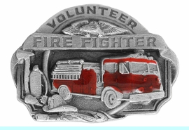 """<Br>    MADE IN THE USA, LEAD & NICKEL FREE!!<Br>W17304P - SMALL """"VOLUNTEER FIRE FIGHTER""""<Br>     PEWTER AND RED ENAMEL FIRE TRUCK<Br>                             TACK PIN $2.36"""