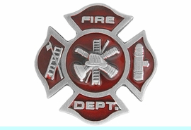 """<Br>    MADE IN THE USA, LEAD & NICKEL FREE!!<Br>              W17305P - SMALL """"FIRE DEPT.""""<Br>                     PEWTER AND RED ENAMEL <BR>                   MALTESE TACK PIN $2.36"""
