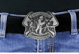 <Br> MADE IN THE USA, LEAD & NICKEL FREE!!<Br>    W17309BK - 2009 COMMEMORATIVE<Br>       AMERICAN FIREFIGHTER PEWTER <Br>                   BELT BUCKLE $13.50