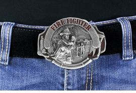 <Br> MADE IN THE USA, LEAD & NICKEL FREE!!<Br>               W17315BK - FIREFIGHTER <br>             PEWTER AND ENAMEL BELT <br>                          BUCKLE $12.40