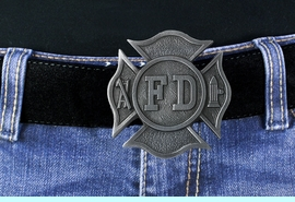 <Br>MADE IN THE USA, LEAD & NICKEL FREE!!<Br>  W18954BK - FIRE DEPARTMENT SHIELD<bR>   PEWTER BELT BUCKLE YOUR PRICE $9.56
