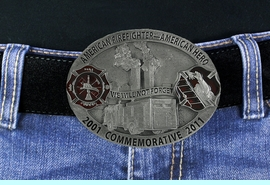 <Br>MADE IN THE USA, LEAD & NICKEL FREE!!<Br>         W18956BK - LIMITED EDITION <BR>           COMMEMORATIVE 9/11 FIRE <BR>           DEPARTMENT SHIELD PEWTER <bR>         & RED ENAMEL BELT BUCKLE $15.75