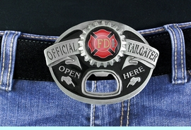 """<Br>MADE IN THE USA, LEAD & NICKEL FREE!!<Br> W19028BK - FIRE DEPARTMENT """"OFFICIAL <Br>TAILGATER"""" BELT BUCKLE WITH BOTTLE <Br>     OPENER YOUR LOW PRICE IS $15.85"""
