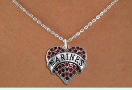 """<BR>       MARINE JEWELRY  WHOLESALE<bR>                   EXCLUSIVELY OURS!! <Br>              AN ALLAN ROBIN DESIGN!! <BR>     CLICK HERE TO SEE 1000+ EXCITING <BR>           CHANGES THAT YOU CAN MAKE! <BR>        LEAD, NICKEL & CADMIUM FREE!! <BR> W1478SN - SILVER TONE """"MARINES"""" RED <BR>     CRYSTAL HEART CHARM AND NECKLACE <BR>            FROM $5.40 TO $9.85 �2013"""