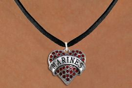 "<BR>       MARINE JEWELRY  WHOLESALE<bR>                   EXCLUSIVELY OURS!! <Br>              AN ALLAN ROBIN DESIGN!! <BR>     CLICK HERE TO SEE 1000+ EXCITING <BR>           CHANGES THAT YOU CAN MAKE! <BR>        LEAD, NICKEL & CADMIUM FREE!! <BR> W1478SN - SILVER TONE ""MARINES"" RED <BR>     CRYSTAL HEART CHARM AND NECKLACE <BR>            FROM $5.40 TO $9.85 �2013"