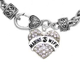 """<BR>       """"MARINE WIFE""""  EXCLUSIVELY OURS!!   <Br>               AN ALLAN ROBIN DESIGN!!   <BR>        NICKEL, LEAD & CADMIUM FREE!!   <BR>W1811B1- FROM $5.98 TO $12.85 �2015"""