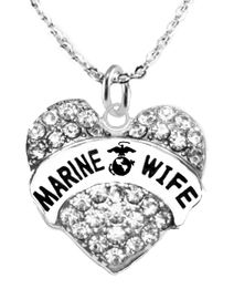 """<BR>""""MARINE WIFE"""" NECKLACE EXCLUSIVELY OURS!!   <Br>                     AN ALLAN ROBIN DESIGN!!   <BR>              NICKEL, LEAD & CADMIUM FREE!!   <BR>      W1811N1- FROM $5.98 TO $12.85 �2016"""
