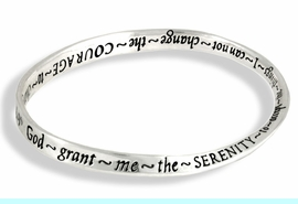 """<br>MEDIUM TO LARGE  SIZE,  3 1/8"""" OPENING <BR>               LEAD AND NICKEL FREE!<BR>W18547B - """"SERENITY PRAYER"""" CURVED<br>    BANGLE BRACELET FROM $4.50 TO $10.00"""