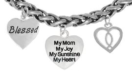"""MOM, """"BLESSED"""","""" MY MOM, MY JOY, MY SUNSHINE, MY HEART"""",<br>              """"ICHTHUS FISH"""", BRACELET, HYPOALLERGENIC, SAFE, <br>               NICKEL, CADIUMUN, LEAD FREE,  FROM $7.38 TO $10.38 <Br>                                                    W272-1893-259B18"""